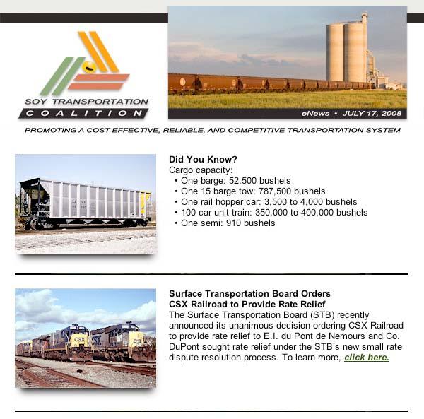 July 2008 Soy Transportation eNews