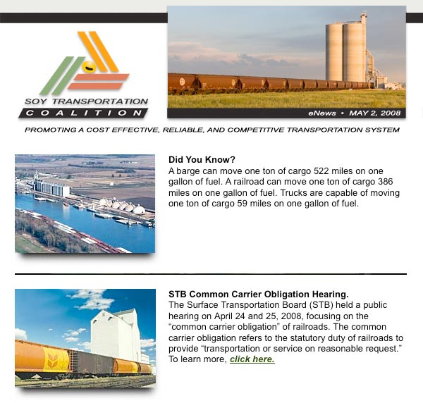Soy Transportation Coalition eNews - May 2, 2008