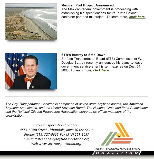 September 5, 2008 Soy Transportation Coalition eNews
